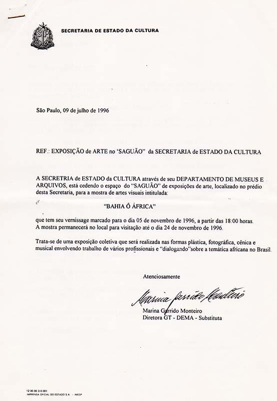 Documento de cessão de espaço